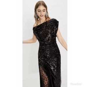 Zara Black Sequin Maxi Midi Dress Draped